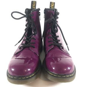 Dr Martens • 1460 Purple Patent Lace Up Zip Boots